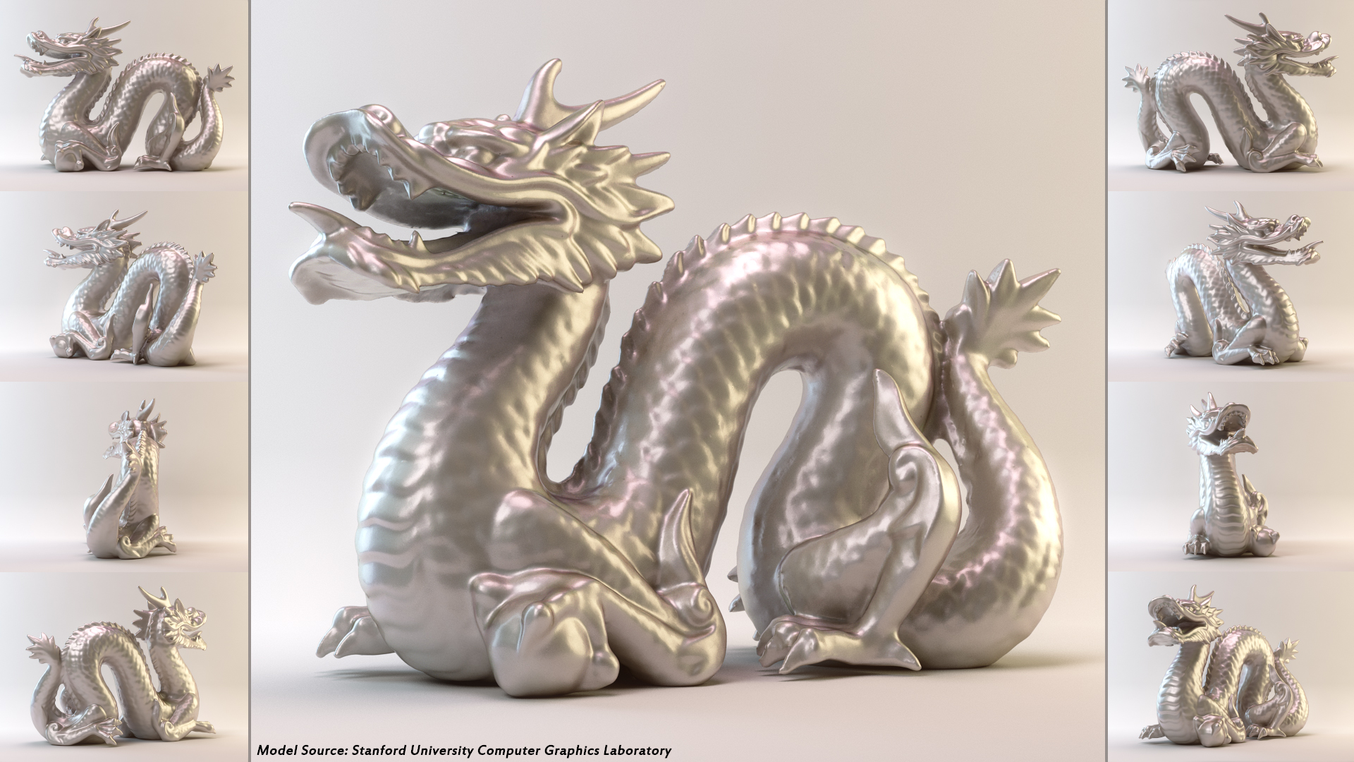 An opalescent study of the  Stanford Dragon .  This is a raw render with no post.  I tried a bunch of different methods here, using references from Chaosgroup forums, vray-materials.de, and siger-studio.  In the end, Sigers was the best method though quite slow and I was only able to improve the render speeds at the cost of minor noise.  I wouldn't want to have to render an animated character with this method, but no others came close to the level of realism.