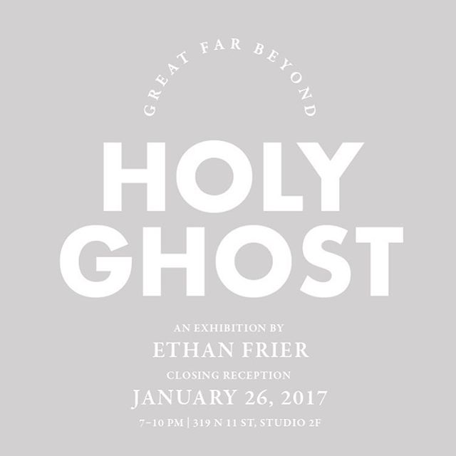 "Come out one week from tomorrow for your last chance to see ""Holy Ghost"" an installation by Ethan Frier (@squirrelchill) at Great Far Beyond"