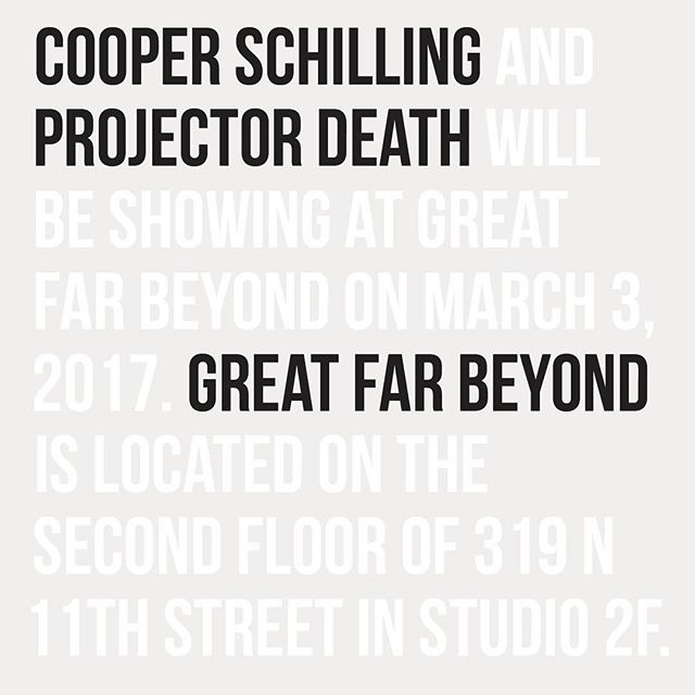 This Friday: Grounding by Cooper Schilling (@smote1) featuring live audio by Projector Death (@projectordeath)