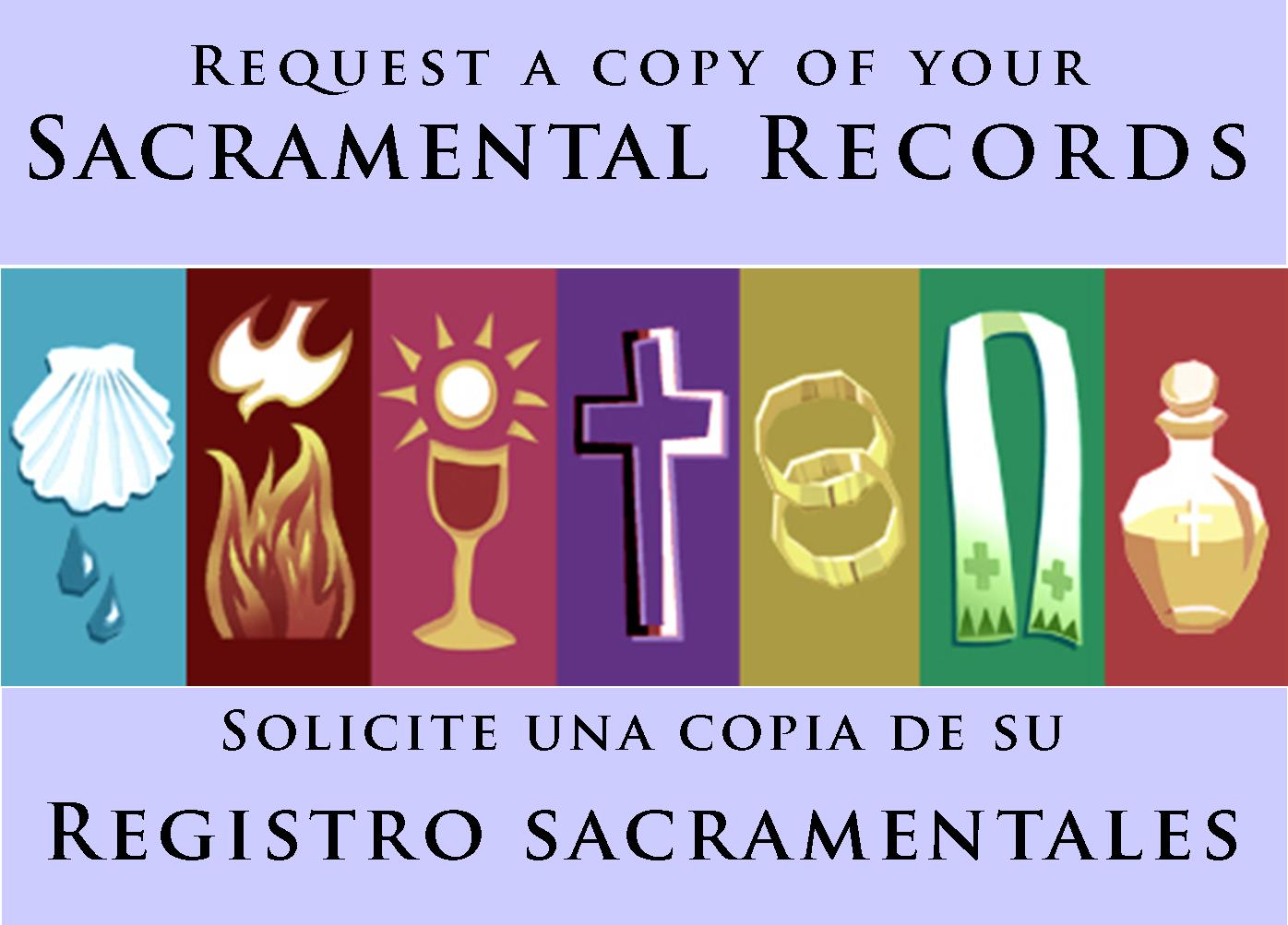SACRAMENTAL RECORDS (COPIES)     en español - send email to    sara.ryan@stjohn-      frederick.org