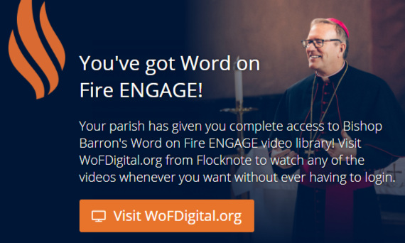 You've got Word on Fire ENGAGE!  With a (free) subscription to our monthly Flocknote eNewsletter, you will also have full free access to Bishop Barron's Word on Fire ENGAGE video library! For those who already subscribe, visit  WoFDigital.org  from Flocknote to watch any of the videos whenever you want without ever having to login.  Not a subscriber to Flocknote yet? Joining Flocknote enables you to receive our closing/cancellation announcements and our eNewsletter. Your information will be completely safe and secure and you can unsubscribe at any time. It's easy - sign up now by texting  SJF  to  84576  or visit  https://new.flocknote.com/stjohnfrederick