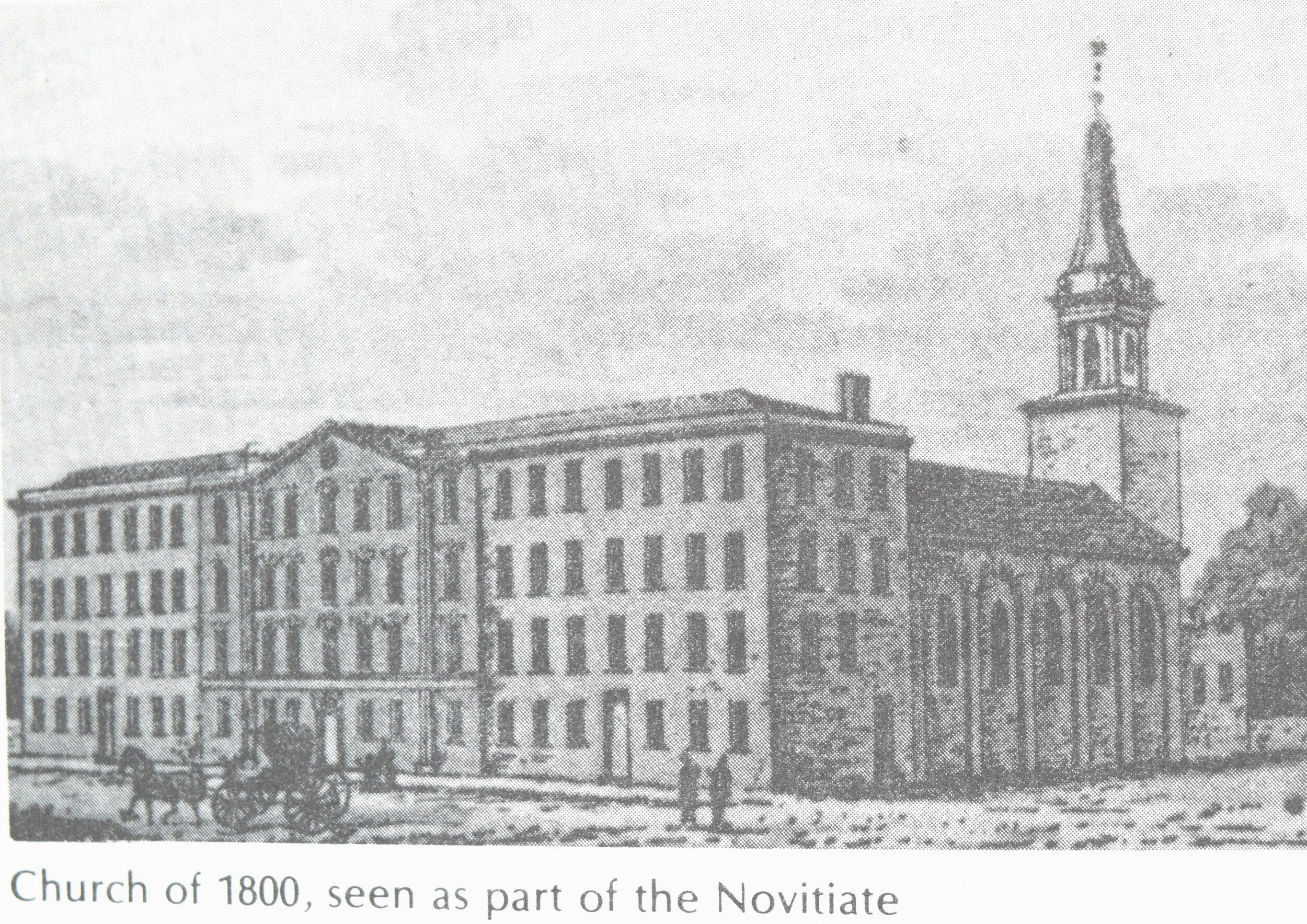 This is the Church of John Dubois as it looked in 1858 as part of the Novitiate, before the removal of the tower.