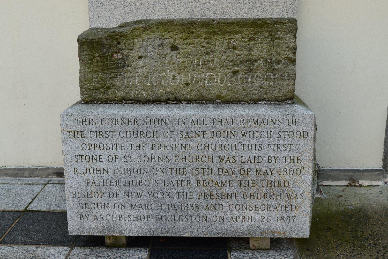 First stone of St. John's Catholic Church