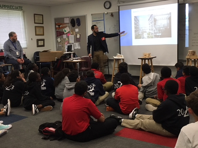 Big KIPPster and Architect,Charlie Dominguez,shares with students - 7th Grade / Architecture & Urban Design Unit
