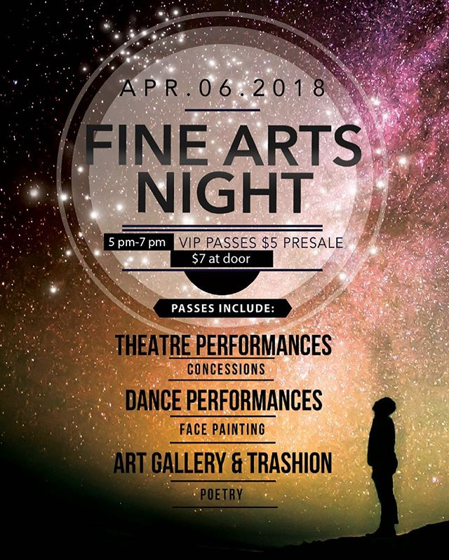 Come see the future of Fine Arts at our FINE ARTS NIGHT this upcoming Friday night.  VIP tix are $5 presale.  This includes dance, theatre, art and photography.  There will also be concessions for sale as well as face painting.  Don't miss out! #kmsfinearts #fineartsmatter #futureartists