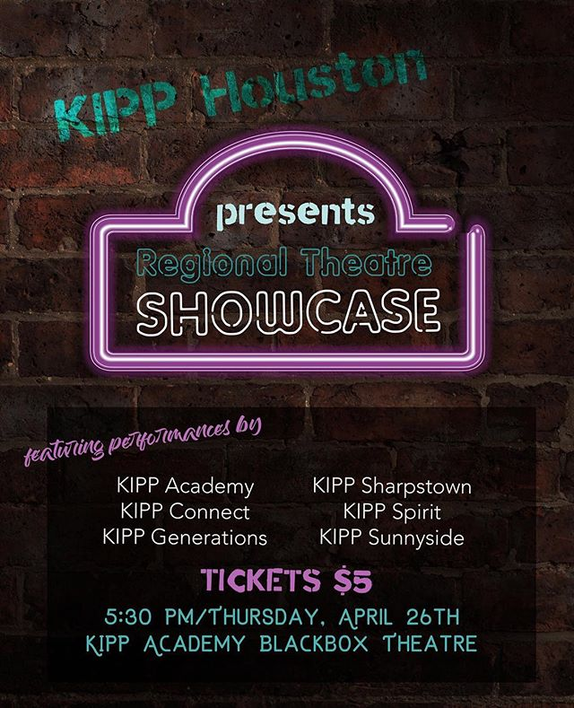 This evening check out our Regional Theatre Showcase in our Blackbox Theatre.  Tickets are $5, event starts at 5:30.  #kmsfinearts #kipphouston #fineartsmatter
