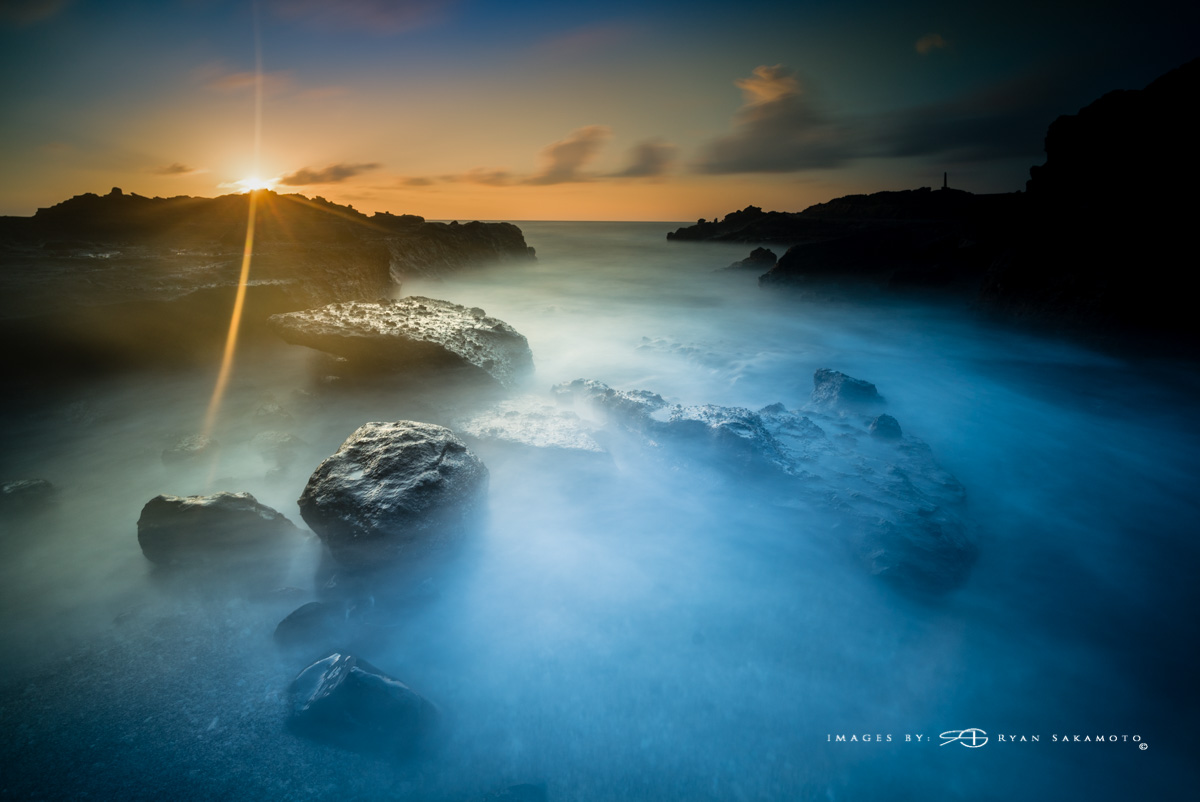 Sunrise at Sandy Beach Park Hawaii Sony A7S II / 63 ses. / f/8 / ISO 200 Lee Filter Big Stopper, 3 stop hard grad &3 stop soft grad stacked.