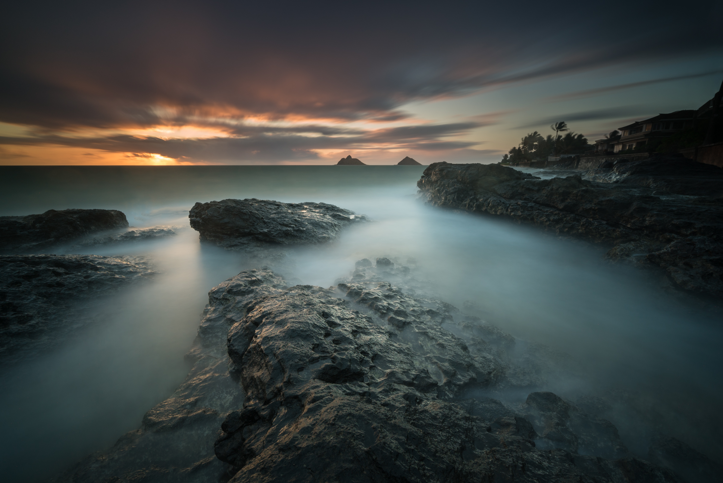 Sunrise at Lanakai Oahu, Hawaii Stacked Lee Big Stopper &3 stop hard grad Sony A7S II |  242 sec. |  f/8  |  ISO 50  |  Sony 16-35mm f/4 Edited in Lightroom & Photoshop CC 2015  Copyright 2016 Ryan Sakamoto, All rights reserved