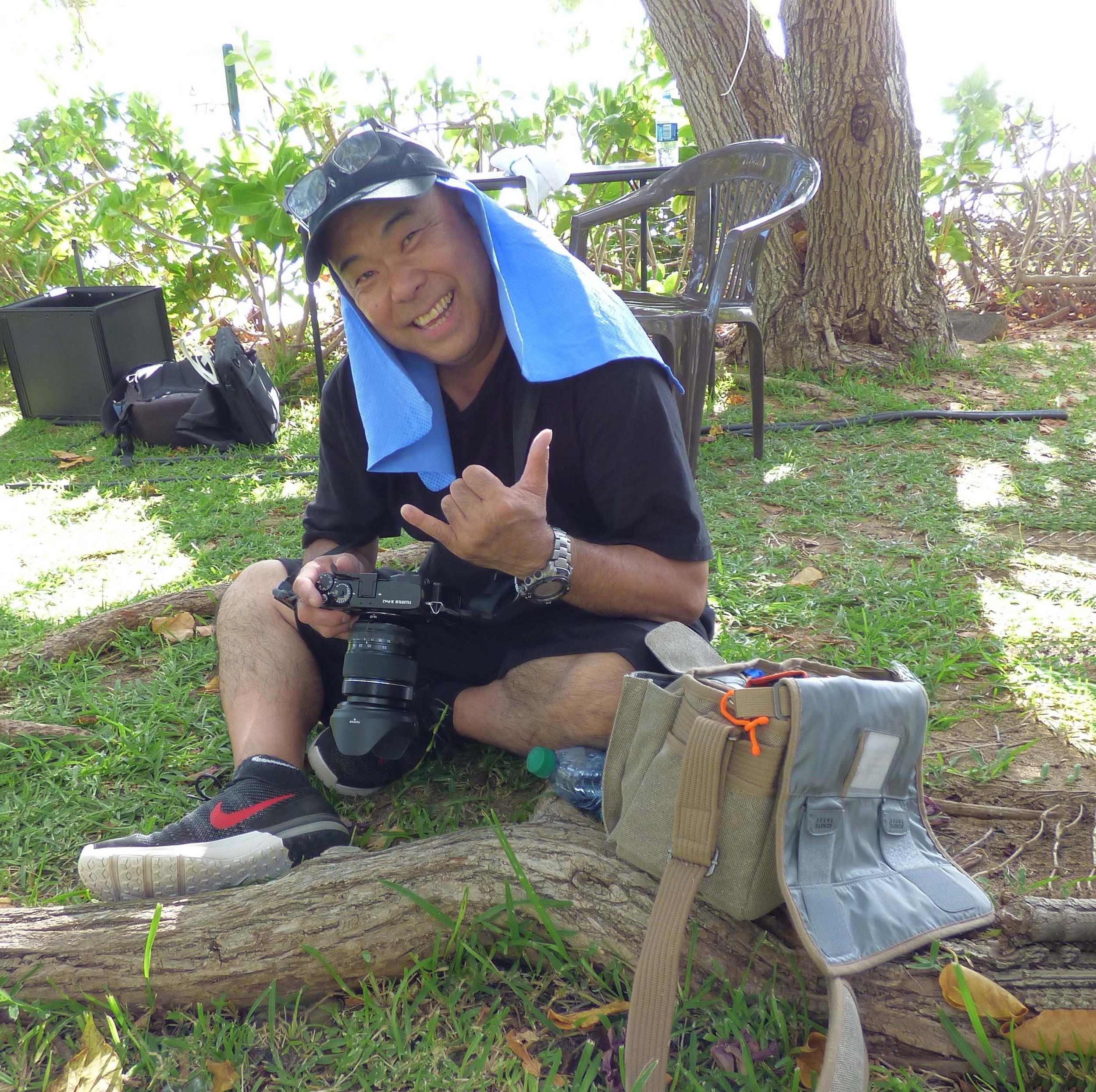 On set of Cooking Hawaiian Style Season 6. 1 of the rare images of myself...ever! PC: Thank you,Yolanda Santos.