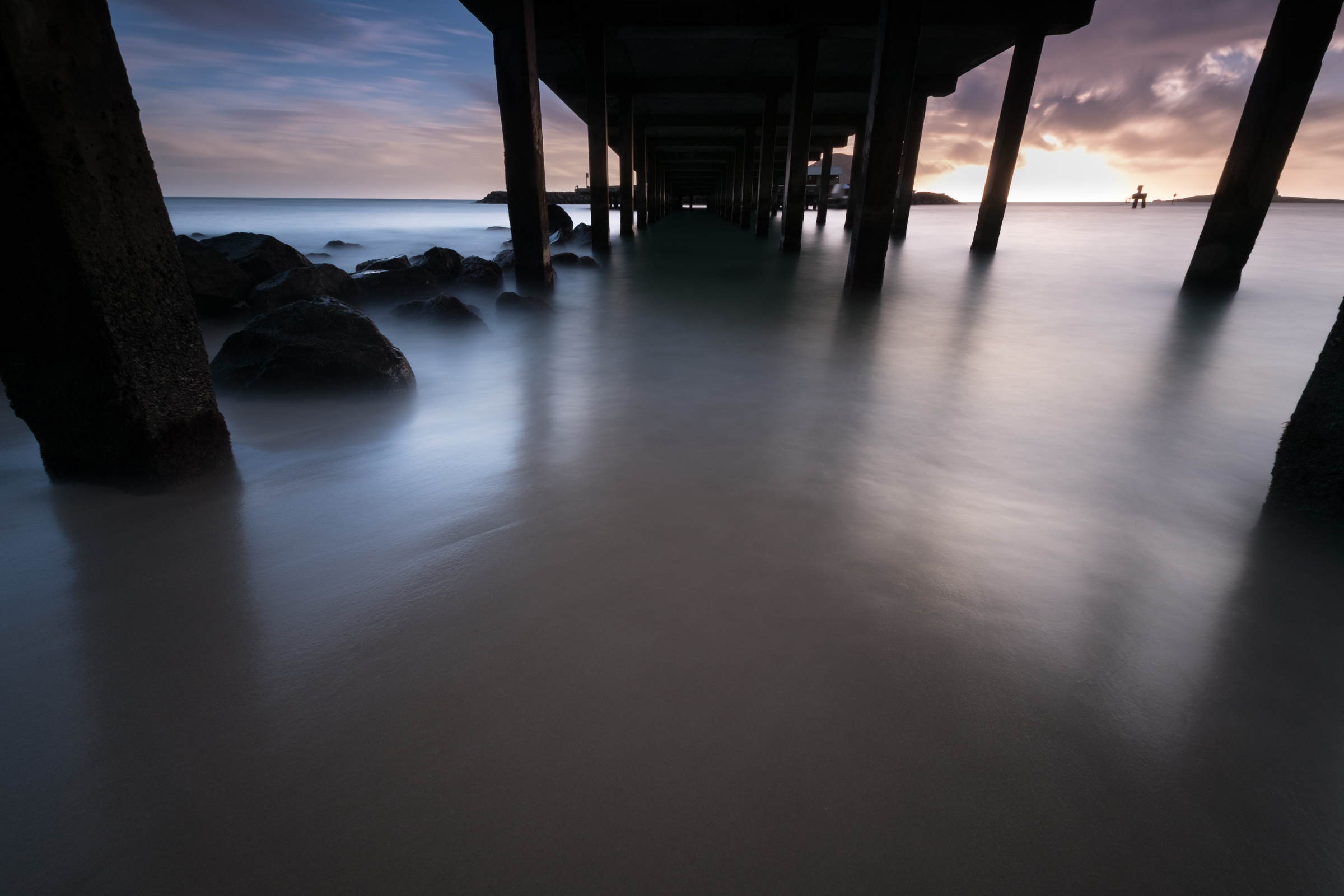 Sunrise at Makai Pier Oahu, Hawaii 07.04.16 6:34am Stacked Lee Big Stopper  Fuji Xpro 2  |  60 sec. |  f/11  |  ISO 200  |  Fujinon 10-24mm f/4  Edited in Lightroom CC 2015  Copyright 2016 Ryan Sakamoto, All rights reserved