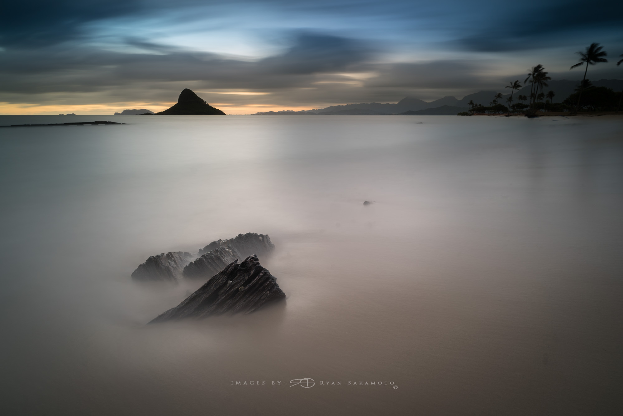 Sunrise at Kualoa Beach Park 11.06.17 Sony A7S II |  242 sec. |  f/8  |  ISO 50  |  Zeiss Batis 2.8/18mm  Edited in Lightroom & Photoshop CC 2015  Copyright 2016 Ryan Sakamoto, All rights reserved