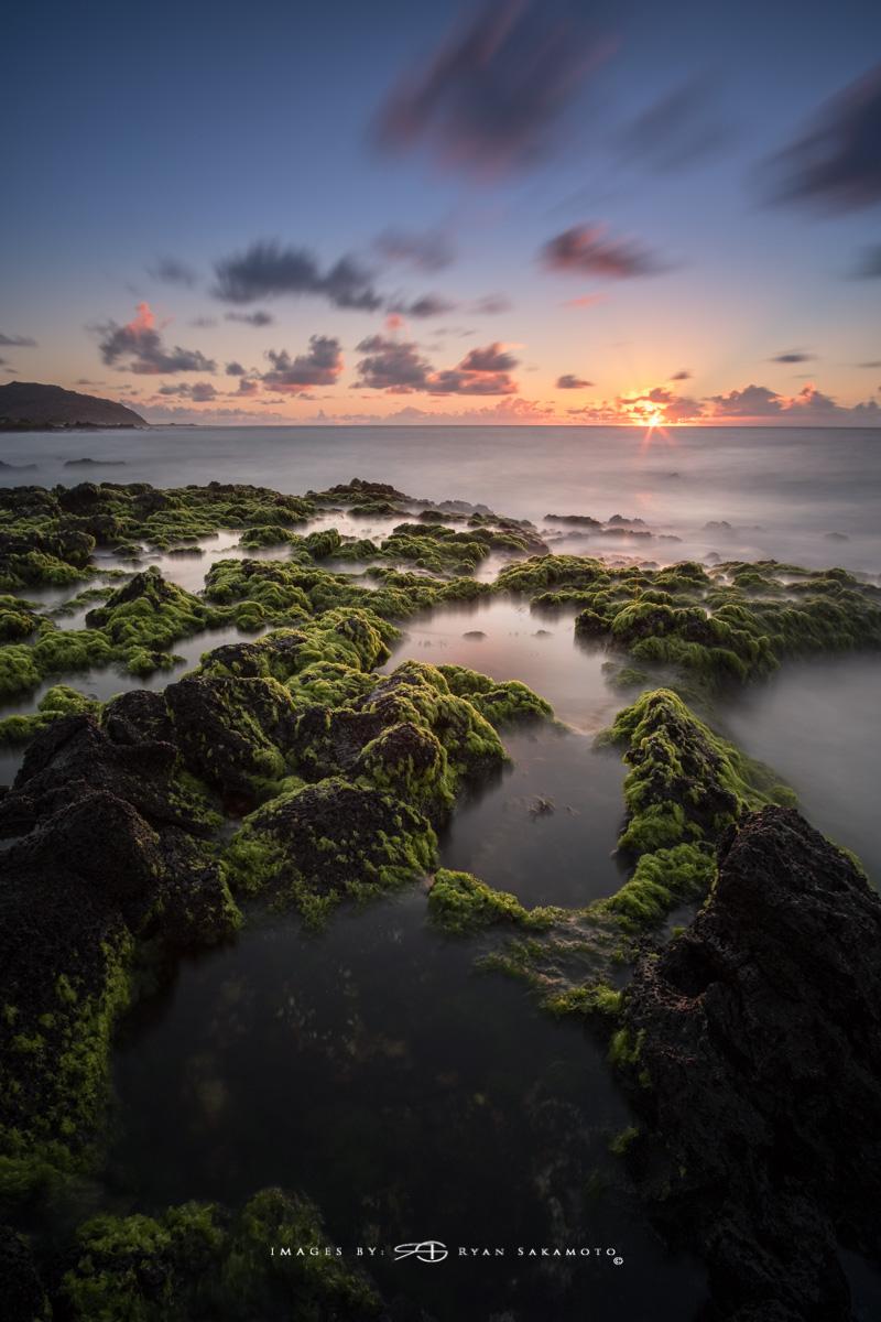 Sunrise from Sandy Beach Park, Honolulu, Hawaii  Fuji XT2  |  60 sec. |  f/8  |  ISO 200  |   Rokinon 12mm F/2 NCS  Edited in Lightroom & Photoshop CC 2017 Copyright 2017 Ryan Sakamoto, All rights reserved