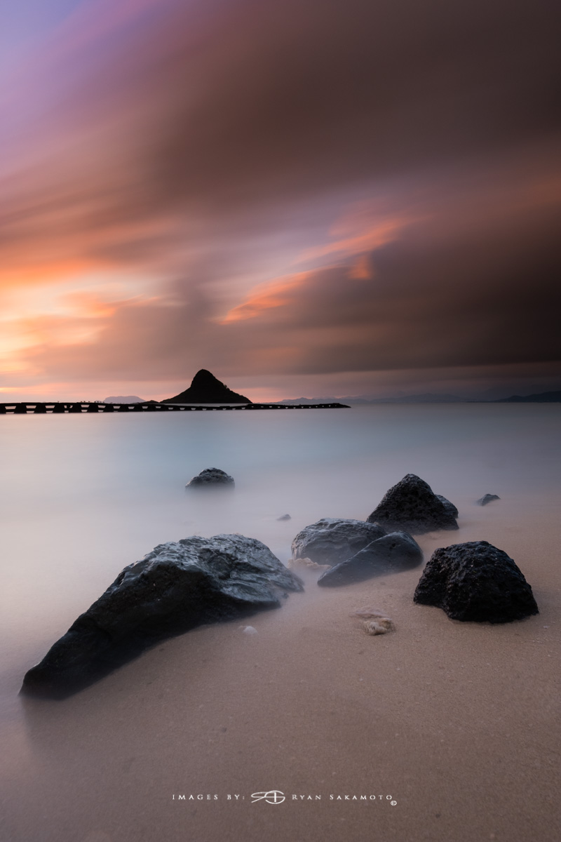 Sunrise from Kualoa Beach Park, Honolulu, Hawaii  Fuji XT2     120 sec.    f/8     ISO 125   Fujinon XF 10-25mm F/4 R OIS    BREAKTHROUGH PHOTOGRAPHY X4 stacked filters, 3-stop soft 100x150mm GND, 3-stop hard reverse 100x150 Grad & 6-stop 100mm ND  Edited in Lightroom Classic CC & Photoshop CC 2018 Copyright 2017 Ryan Sakamoto, All rights reserved