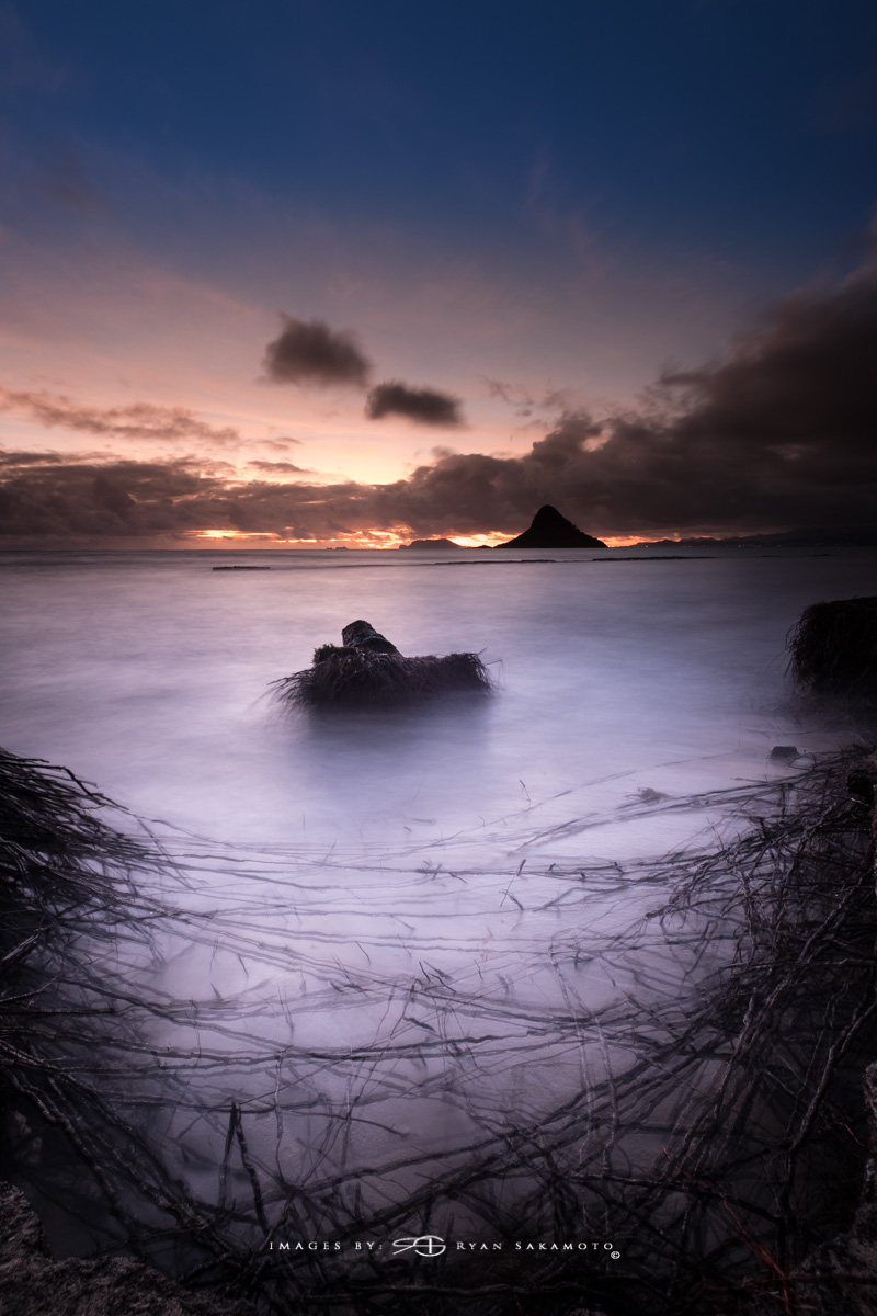 Sunrise from Kualoa Beach Park, Honolulu, Hawaii  Fuji XT2    |    30 sec.    |    f/8   |   ISO 100 |   Fujinon XF 10-25mm F/4 R OIS    BREAKTHROUGH PHOTOGRAPHY X4 stacked filters, 3-stop soft 100x150mm GND, 3-stop hard reverse 100x150 Grad & 6-stop 100mm ND  Edited in Lightroom Classic CC 2018 Copyright 2017 Ryan Sakamoto, All rights reserved