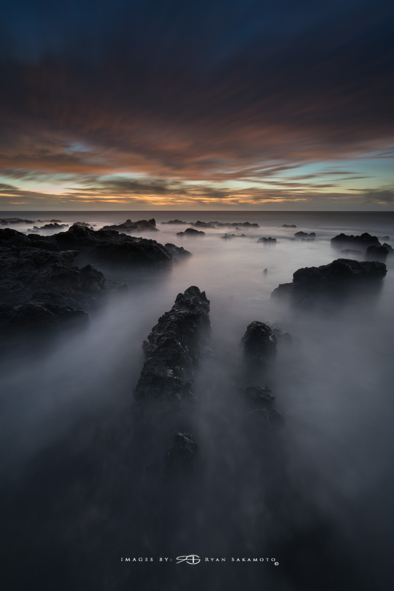 Sunrise from Sandy Beach, Hawaii  Sony A7R III  |  182 sec. |  f/8 |  ISO 200 | Sony FE 16-35mm GM F/2.8    BREAKTHROUGH PHOTOGRAPHY X4 stacked filters, 3-stop hard reverse 100x150  Edited in Lightroom Classic CC  Copyright 2018 Ryan Sakamoto, All rights reserved