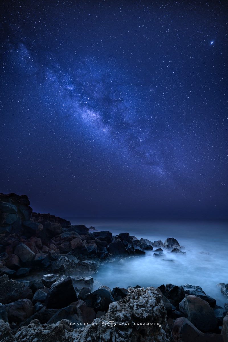 Milky Way Hawaii Fine Art, Long Exposure, Milky Way Star Photograph  Sony A7R III    |    25 sec.    |    f/2.8  |   ISO 2000 |     Sony FE 16-35mm GM F/2.8         2 frame Composited Image  Edited in Lightroom Classic CC & Photoshop CC 2018 Copyright 2018 Ryan Sakamoto, All rights reserved