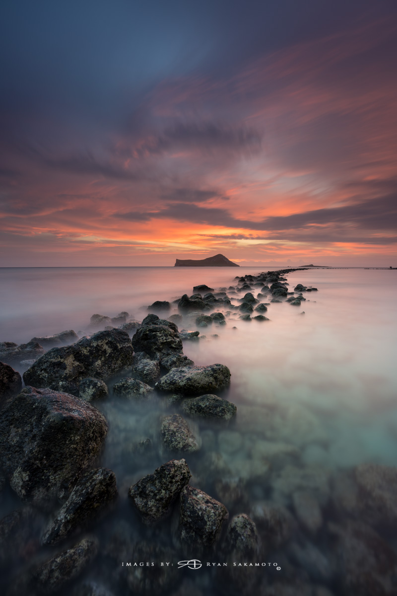 Eastside Sunrise, Hawaii Fine Art,Long Exposure, Sunrise Photography   Sony A7R III       181 sec.   f/8    ISO 50   Sony FE 16-35mm GM F/2.8     BREAKTHROUGH PHOTOGRAPHY X4 stacked filters, 6-stop 100x100mm ND & 3 stop reverse GND   Single Frame  Edited in Lightroom Classic CC 2018 Copyright 2018 Ryan Sakamoto, All rights reserved