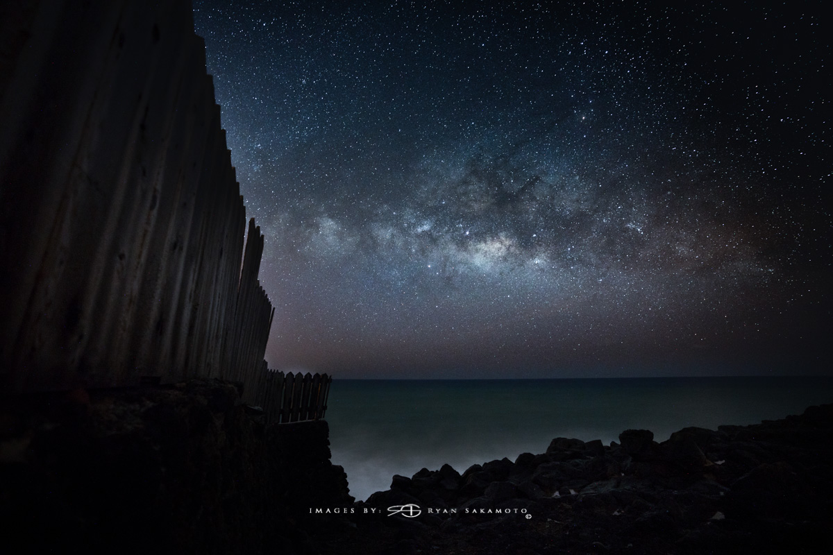 Eastside Milky Way, Hawaii Fine Art, Long Exposure, Milky Way Star Photography  Sony A7R III    |    20 sec.    |  f/2.8  |   ISO 2500   |   Sony FE 16-35mm GM F/2.8      Edited in Lightroom Classic & Photoshop CC 2018 Copyright 2018 Ryan Sakamoto, All rights reserved