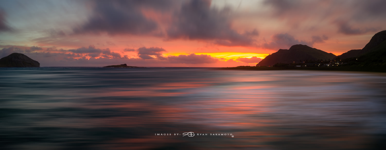 Sunrise from Makapuu, Hawaii DJI Mavic Pro 2 | PolarPro Exposure Collecton ND8 3 stop ND Filter 2 image pano Edited in Lightroom Classic & Photoshop CC 2018 Copyright 2018 Ryan Sakamoto, All rights reserved
