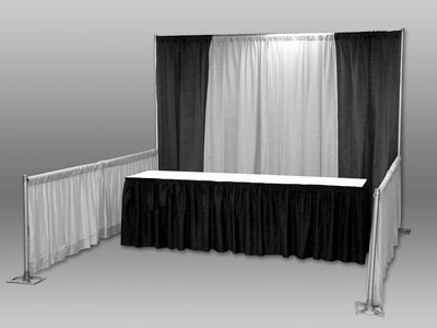 We use TEAL (not black and white) pipe-and-drape. NO table coverings are included - bring your own.