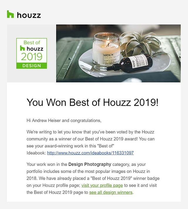"▪️ Honored to have been awarded ""Best of Houzz 2019"" in Design Photography for my second year in a row! With more than 40 million monthly users on @houzz, I am super excited to be one of this year's recipients! ✨"