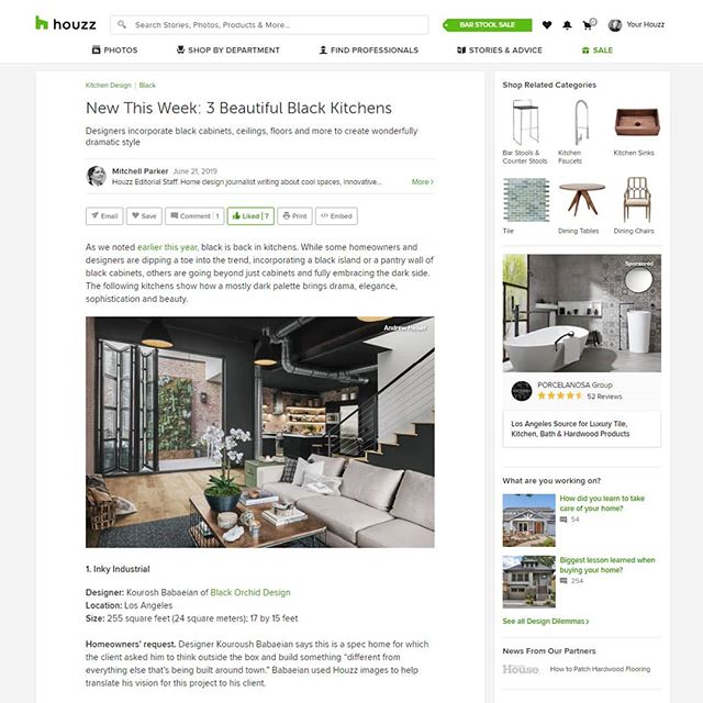 ▪️ Today I have 3 photographs featured on the homepage of @houzz!! Thank you to Mitchell Parker for the awesome article and of course @kouroshbabaeian for designing such a sleek space! 💯