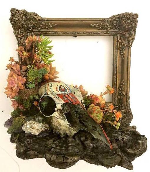 """Ritual    vertical garden on resin frame with deer skull   15"""" x 12"""" x 10"""""""