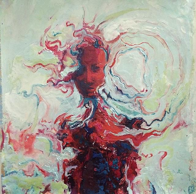 "The Red Witch  25"" x 25"""