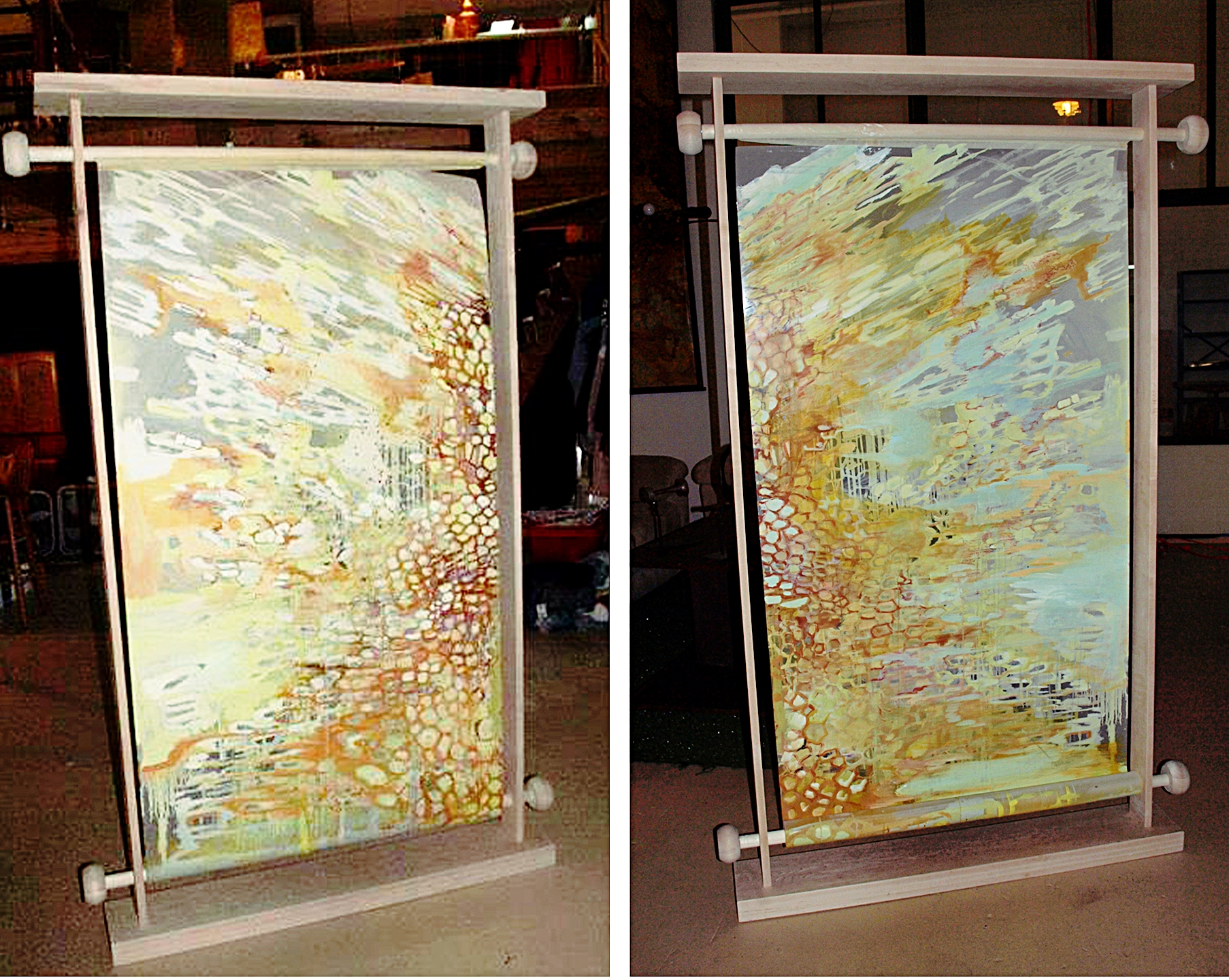 """Beehive  oil on mylar with wooden scroll frame  6"""" x 48"""""""