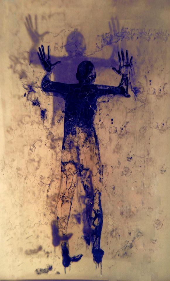 "Shadow Man  ink on plexiglass  72"" x 48"""