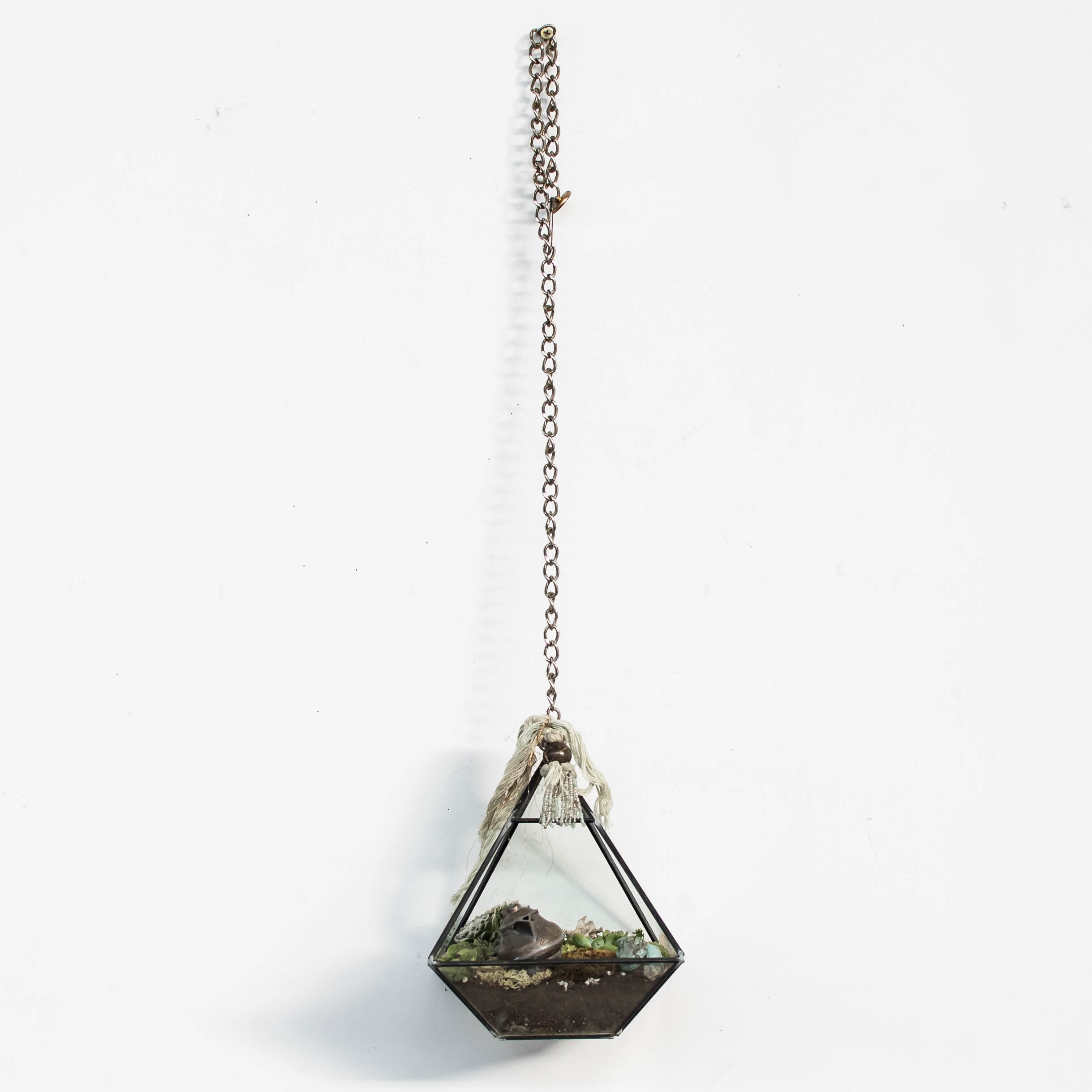 "Three Wishes    hanging geometric terrarium with miniatures & succulent garden  8"" x 5"" x 5"""