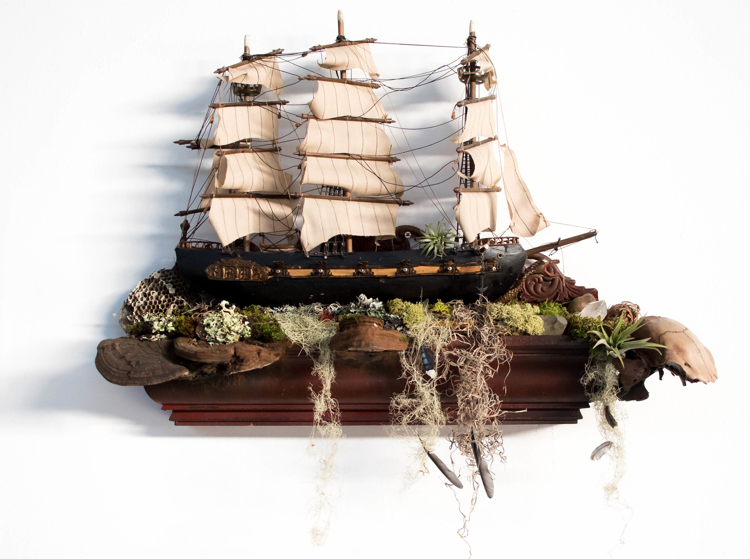 "X Marks the Spot    reconstructed wood pirate ship with handmade succulent frame & scavenged art adornments  20"" x 25"" x 6"""