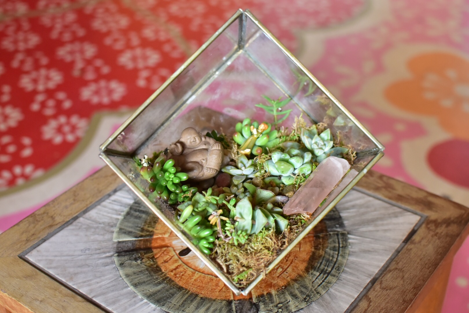 """Don't Box Me In    glass succulent terrarium with miniature buddha figurine and found crystal  6"""" x 6"""" x 6"""""""