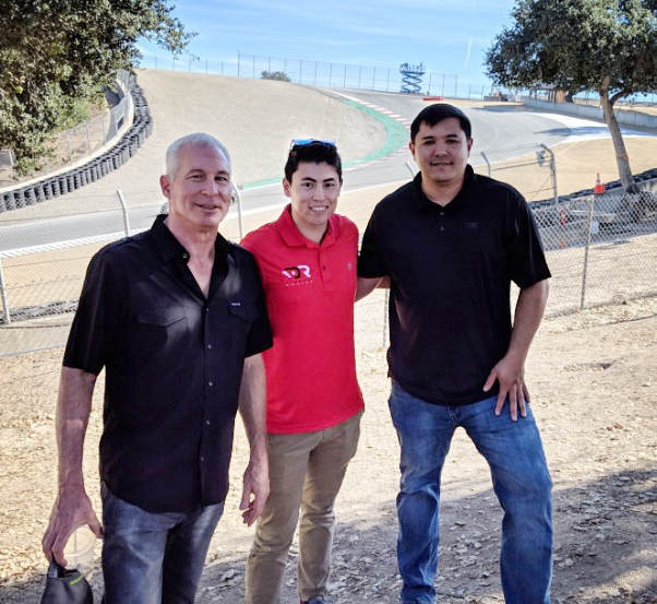 Two supporters of Shelter to Soldier with Dakota at Laguna Seca.