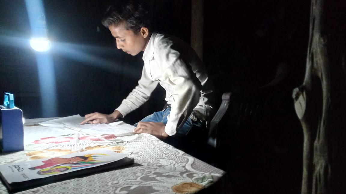 Our jungle village kids are now able to study and do their homework at night.