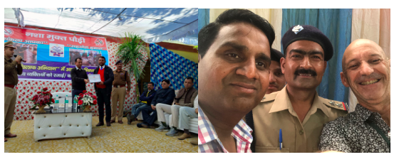 Our Director, Mr Amit Samuel, receiving an award of commendation for community service from the local police, and a (not so good) selfie of Doug and some of the police in April.