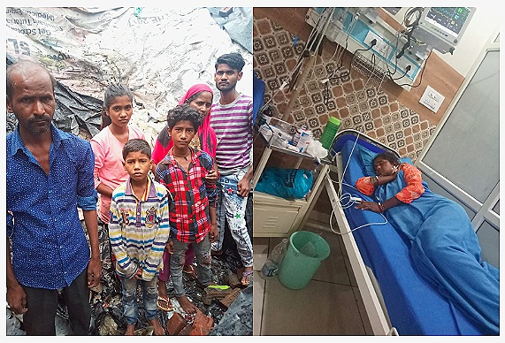 Left:    Asha and her family in July, after a monsoon storm destroyed all of their belongings.     Right:    Asha this week in Bijnor Hospital (August)