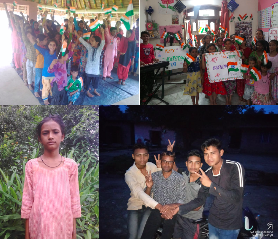 From the top:  Celebrating India's Independence Day at Village Village Kadarganj School and City Centre School; Anisha; and Sanjay with some of the young men of Village Parmawala.