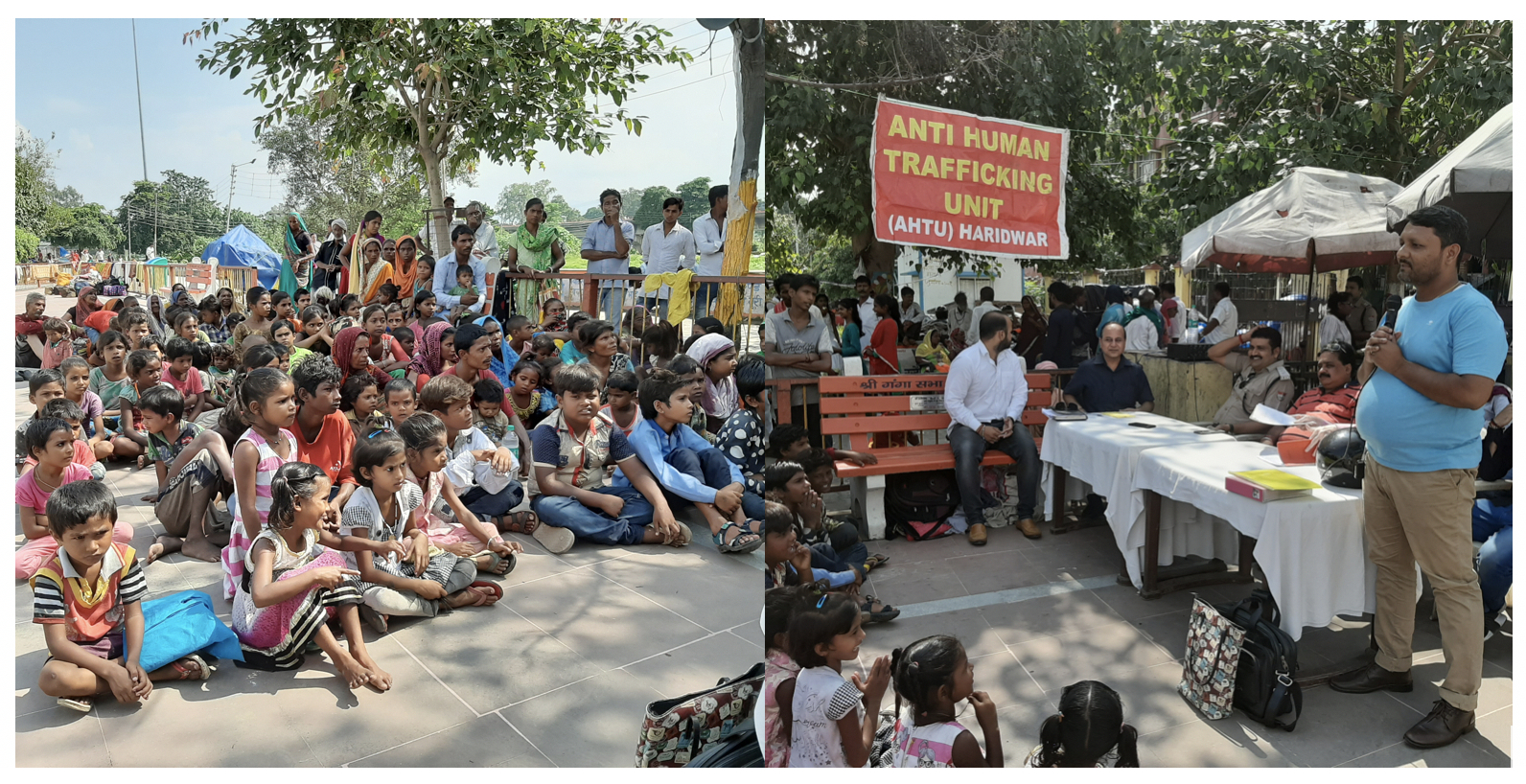 Amit and the police team speaking to kids in Haridwar.