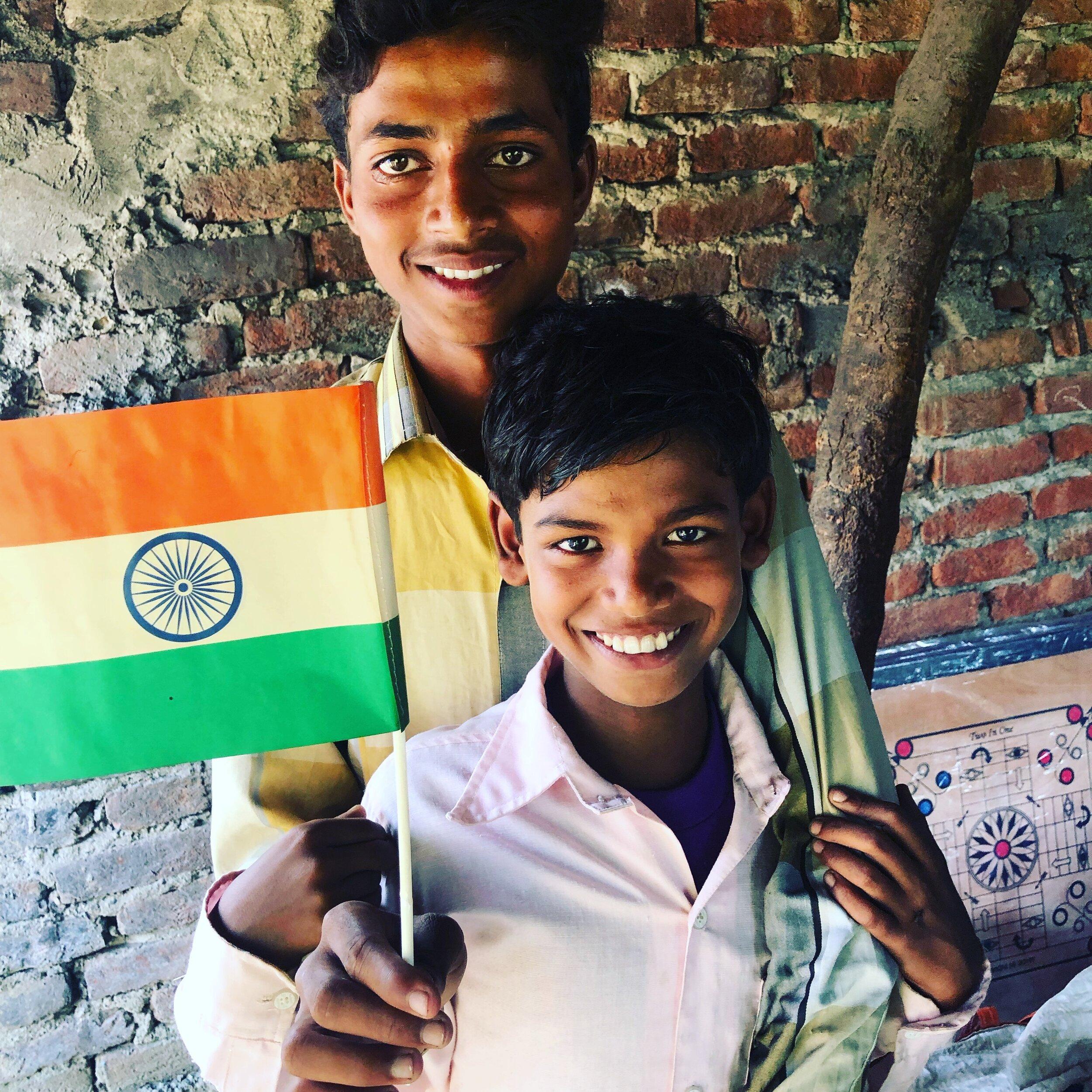 Kids at the 'Project Help' Education Centre at Jungle Village Bagwala.