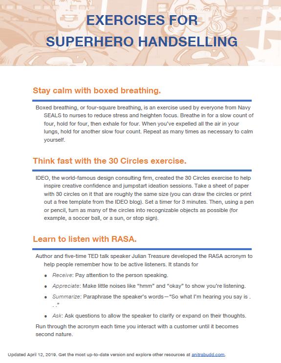 Exercises for Superhero Handselling