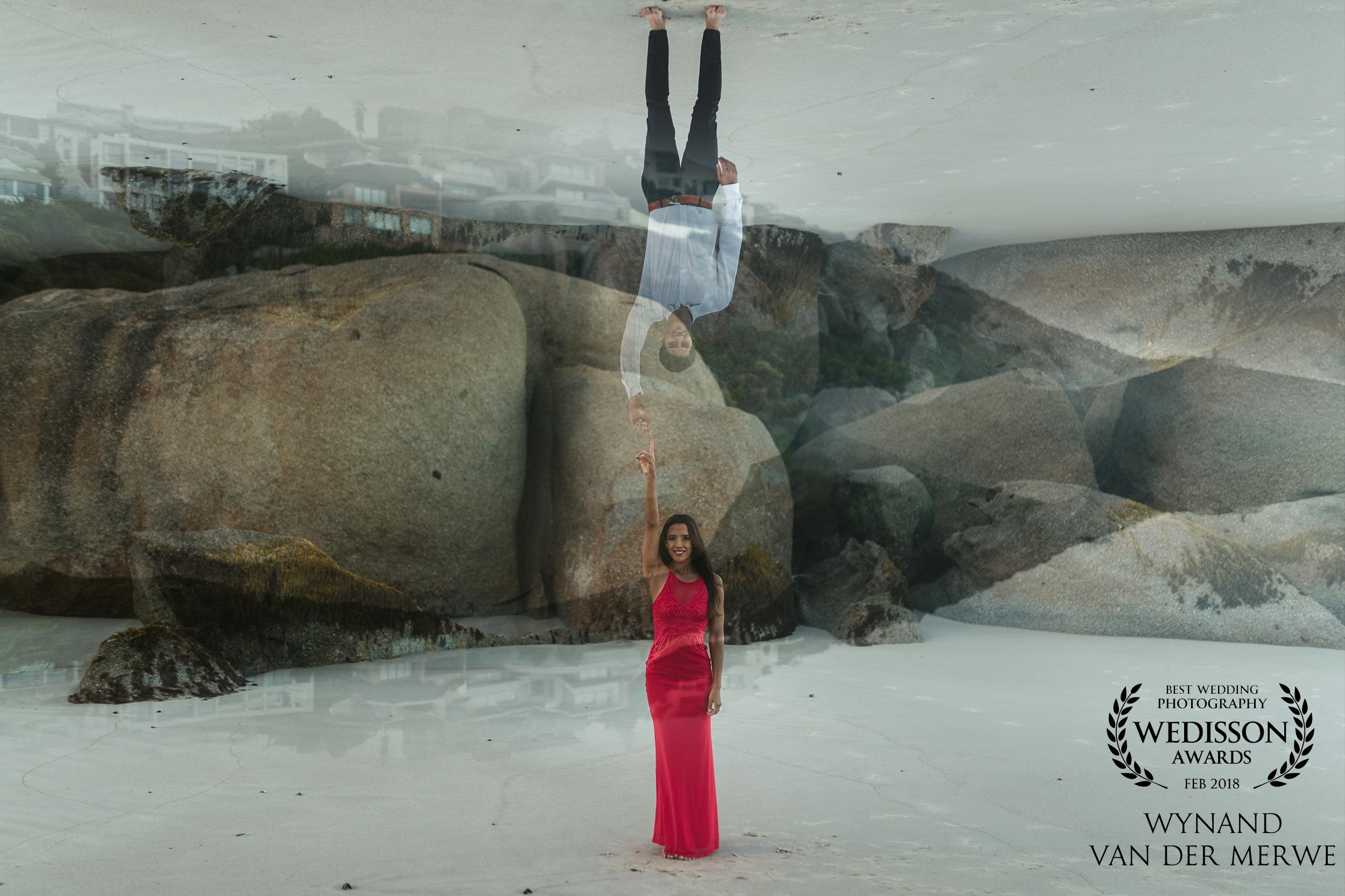 Nicolas & Greer's engagement shoot at Llandudno Beach, South Africa. #doubeexposure Wedisson Awards