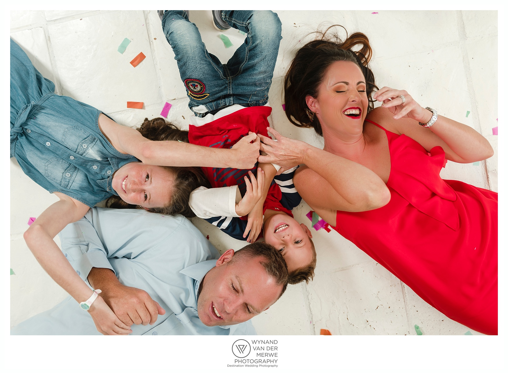 Colorful family shoot in studio