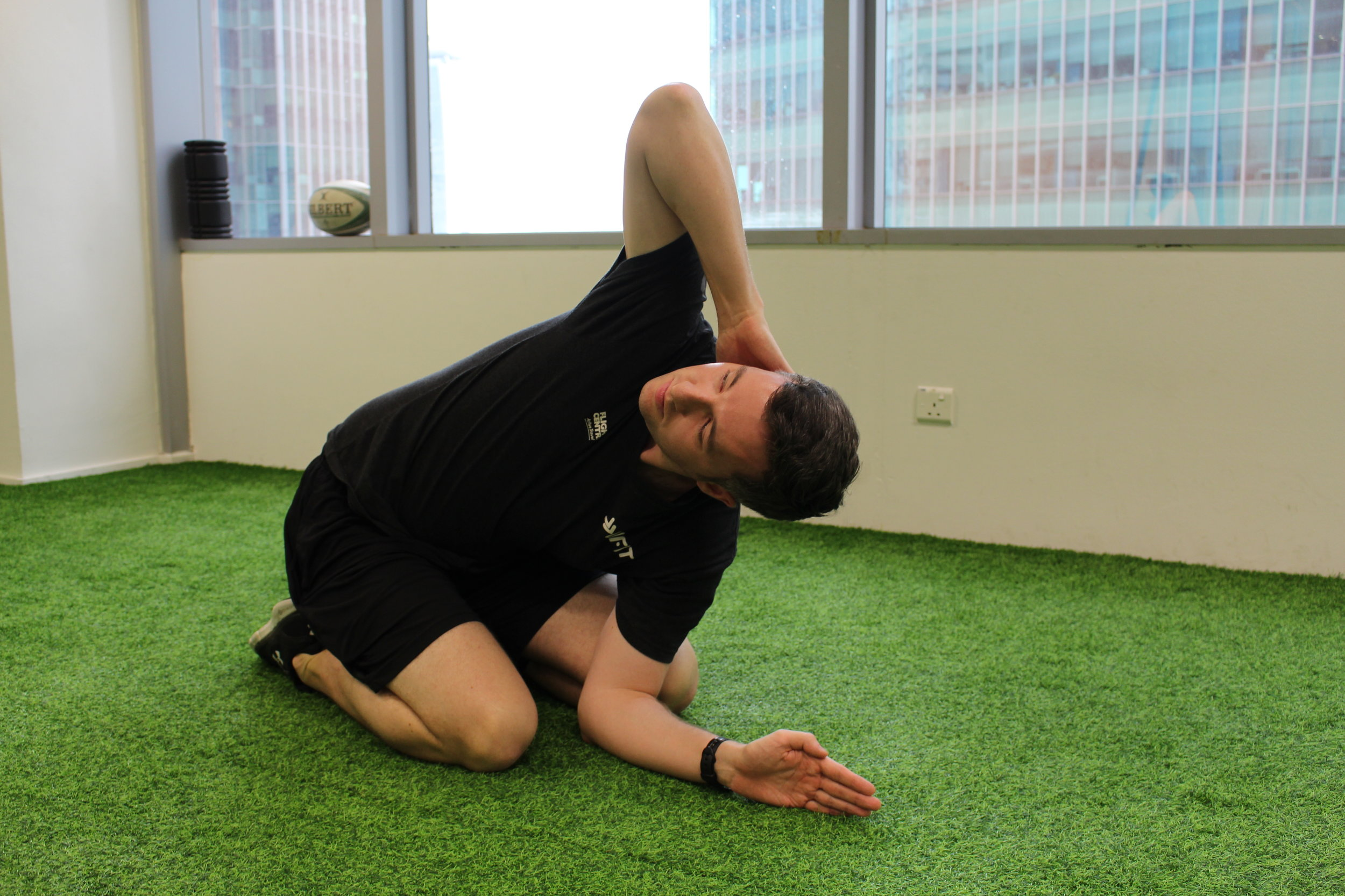 With your hand behind your head, open your chest by raising your elbow up towards the ceiling. The stretch should be felt in the chest and upper back. Perform 10-12 repetitions.
