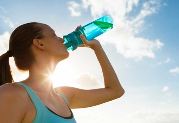 Make sure you drink enough water, especially when you're working out under the sun.