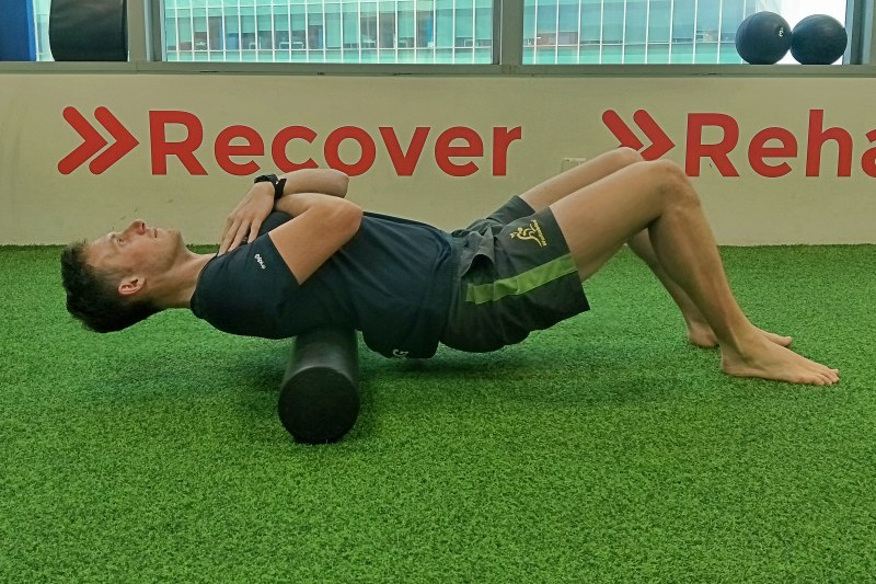 1. Foam rolling your upper and lower back.