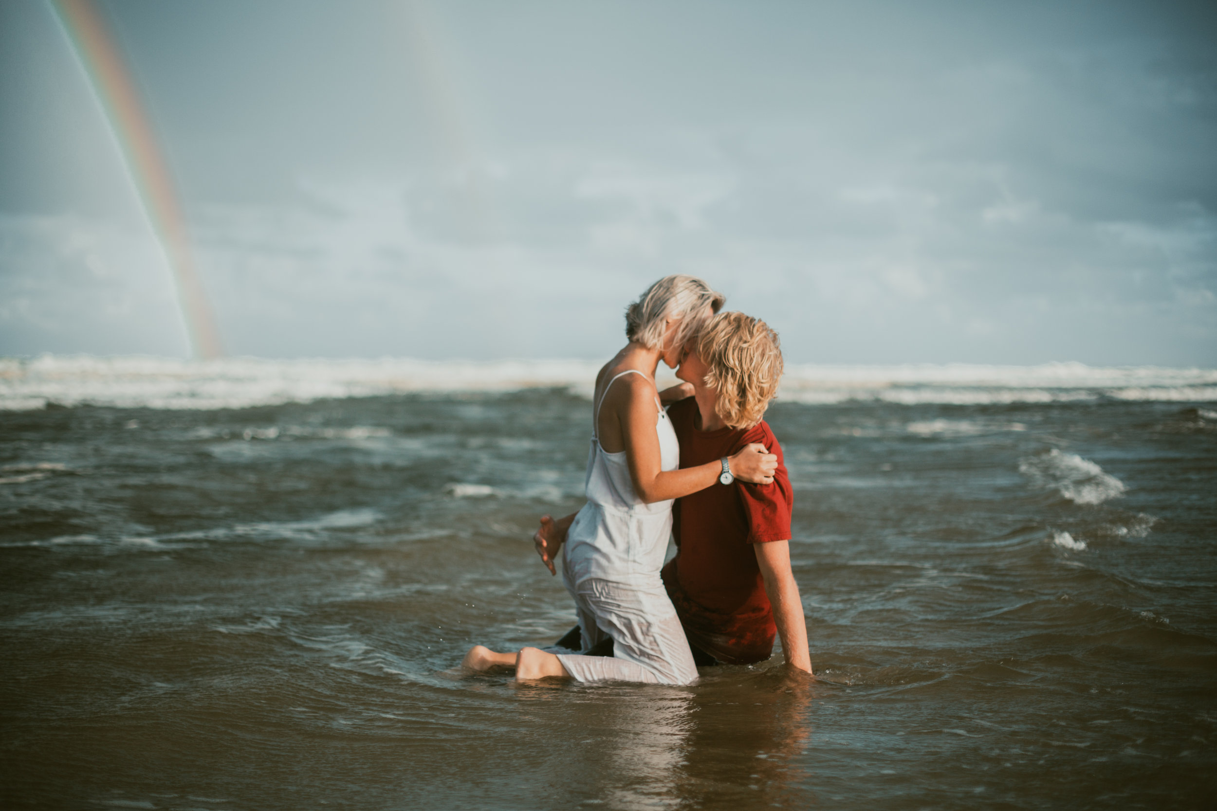 Emma & Jake - This Brunswick Heads Engagement Photoshoot was absolutely amazing! We had sun showers, a double rainbow, plus an epic couple who were willing to get wet and make -out in the ocean! Seriously  amazing!