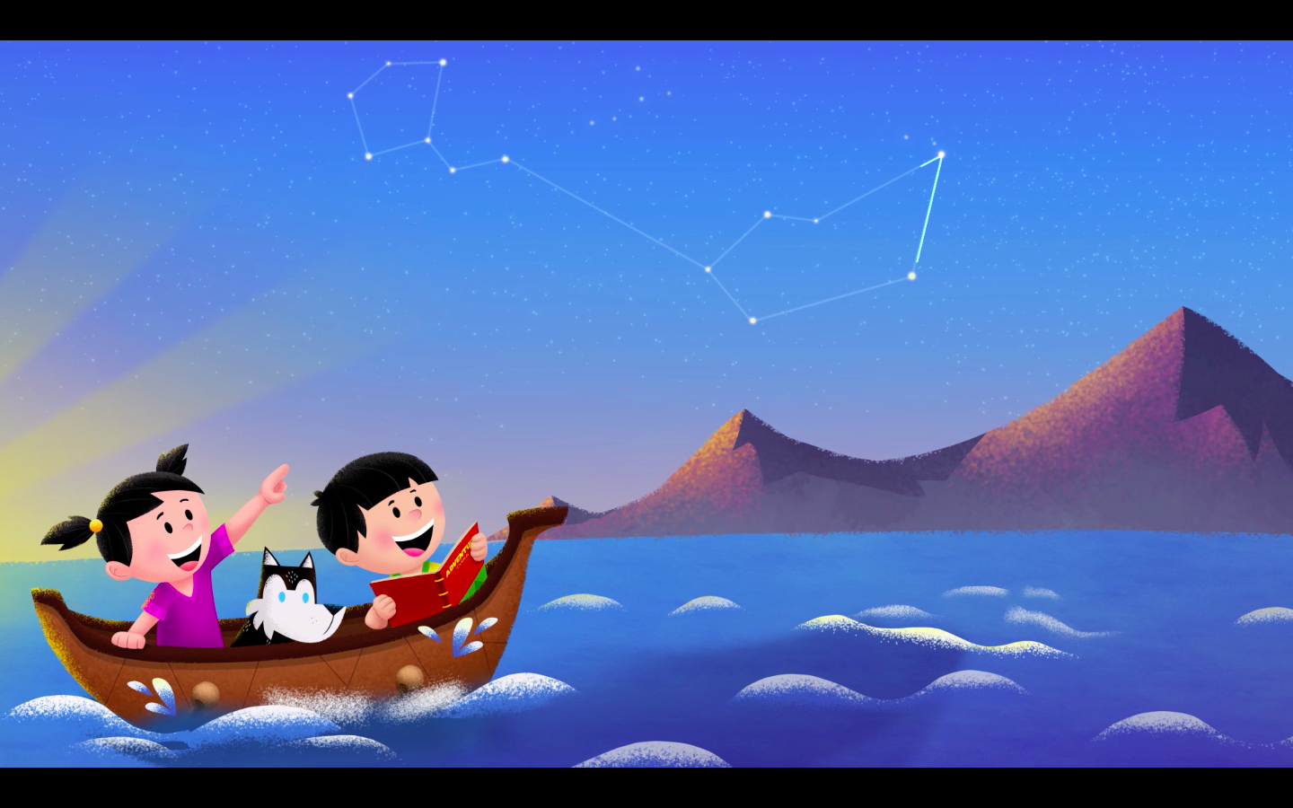 Tomo and friends follow the stars while exploring the world. | Art by Trevor Lai.