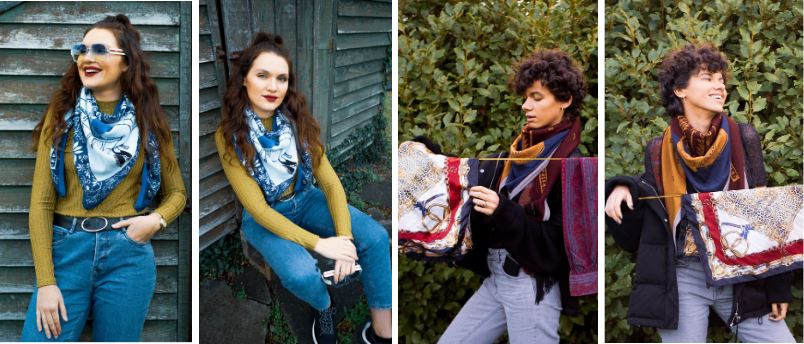 Scarves: Electronic Sheep 'Girly by the Liffey' and 'Cowboy Boot'. Models are Rita and Antonita @goodfashionsocial. Photography, Angie @therosemill.