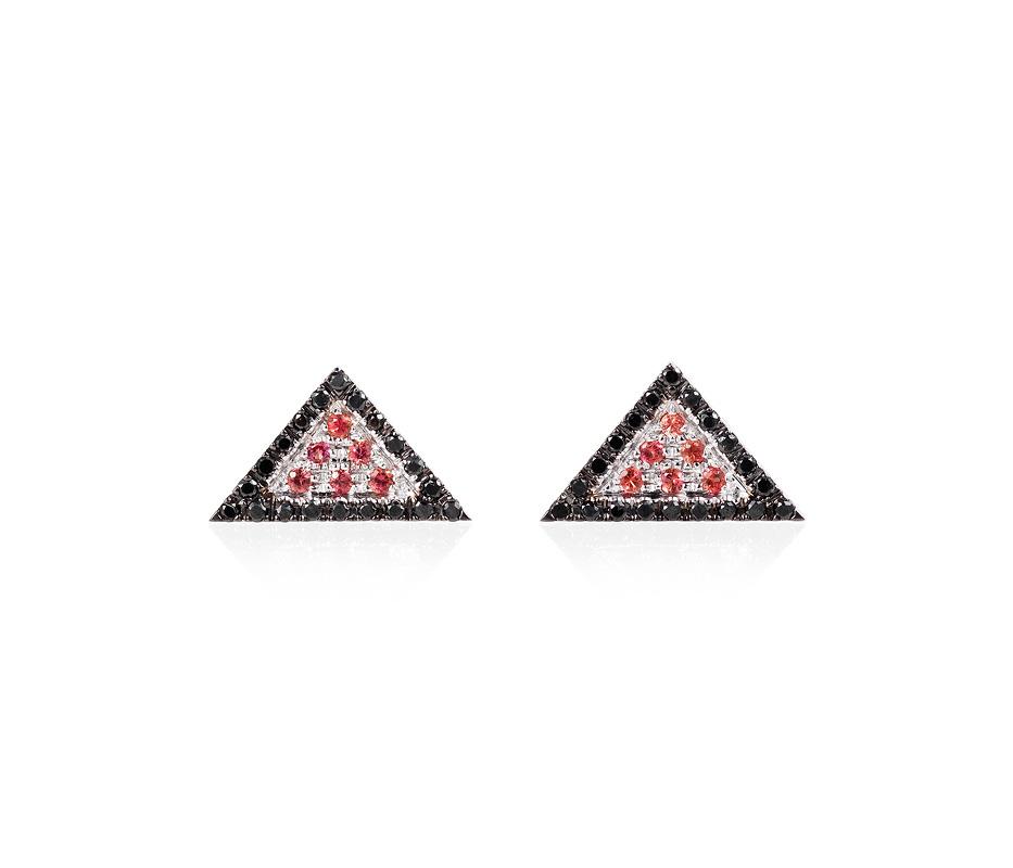 Black Trillion Earrings